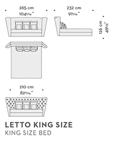 Dimensioni della testata letto Frou Frou, dallo stile bon ton, che appartiene al catalogo di Promemoria   Promemoria