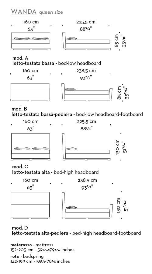 Dimensioni di Wanda, un letto matrimoniale del catalogo Promemoria, con uno stile minimale e una testata caratteristica   Promemoria