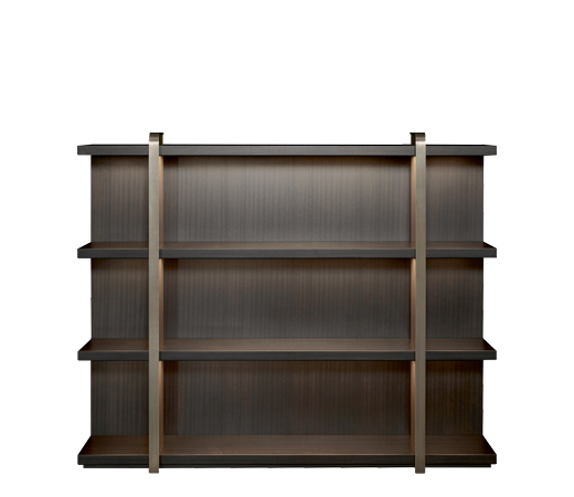 Nisha is a wooden bookcase with bronze supports from the Promemoria's Night Tales collection | Promemoria