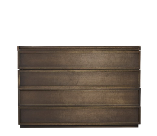 Orione is a wooden chest of drawers covered in leather, from Promemoria's catalogue | Promemoria