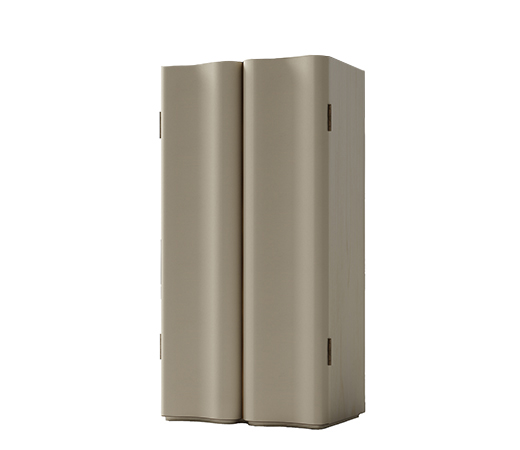 Asterya is a wooden cabinet with bronze details and leather shelves, drawers and placemats from Promemoria's collection Amaranthine Tales | Promemoria