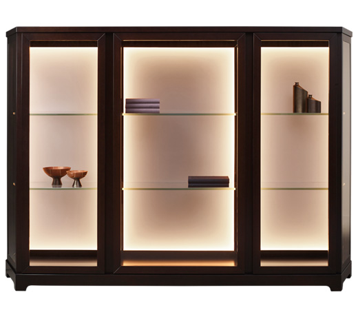Nefertiti is a wooden cabinet with glass and bronze details from Promemoria's Night Tales collection | Promemoria
