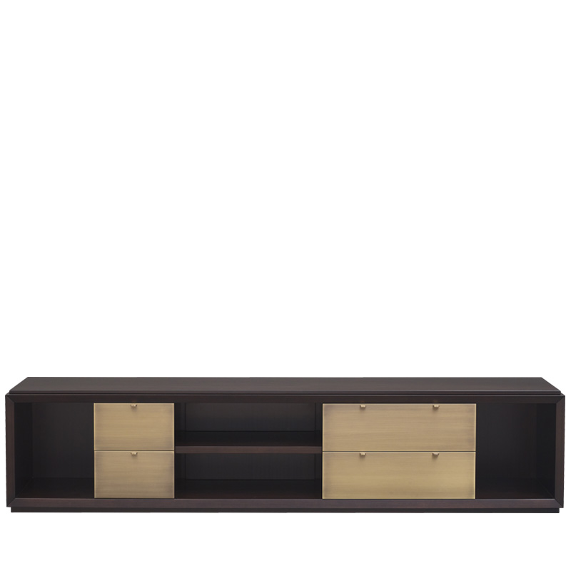 Nightwood is a wooden low cabinet with drawers with bronze details and leather placemats from Promemoria's Amaranthine Tales collection | Promemoria