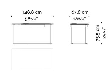 Dimensions of Galadriel, an essential writing desk with bronze structure and wooden tops and drawers from the Promemoria's catalogue | Promemoria