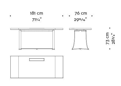 Dimensioni di Victor, tavolo con struttura in bronzo del catalogo di Promemoria | Promemoria