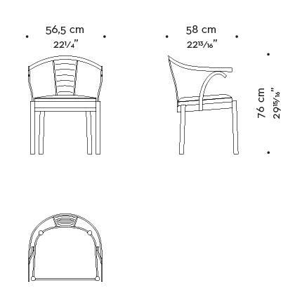 Dimensions of Jasmine, a bronze dining chair with armrests covered in leather, from Promemoria's catalogue   Promemoria