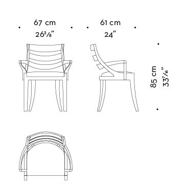 Dimensions of Judith, a wooden dining chair with a bronze detail on the armrest, from Promemoria's catalogue | Promemoria