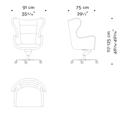 Dimensions of Butterfly, an office armchair covered in leather and fabric, available with a pouf, from Promemoria's catalogue   Promemoria