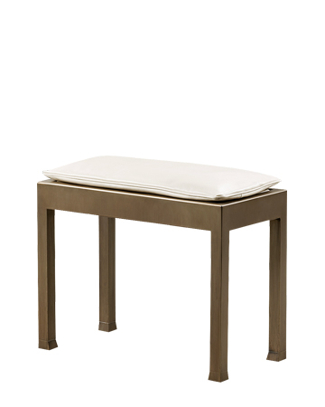 Gong is a bronze stool with a leather cushion, from Promemoria's catalogue | Promemoria