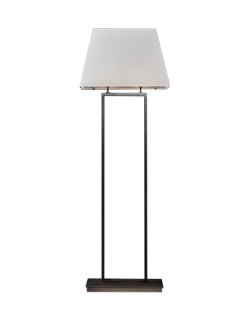 Agatha is a floor LED lamp with bronze structure and linen, cotton or hand-embroidered silk lampshade, from Promemoria's catalogue | Promemoria