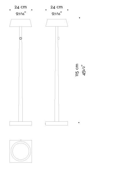 Dimensions of Fiammetta, a floor and table LED lamp in metal portable and wireless, from Promemoria's catalogue | Promemoria