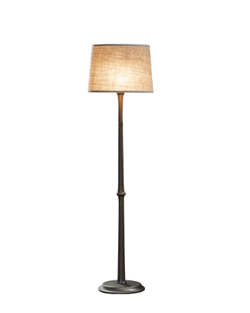 Françoise is a floor LED lamp with bronze structure and a linen, cotton or hand-embroidered silk lampshade, from Promemoria's catalogue | Promemoria