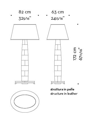 Dimensions of Pia, a floor LED lamp with wooden or leather structure, base n bronze or covered in leather and a hand-embroidered lampshade, from Promemoria's catalogue   Promemoria