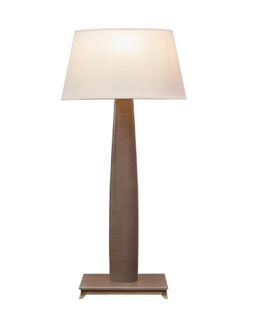 Pia is a floor LED lamp with wooden or leather structure, base n bronze or covered in leather and a hand-embroidered lampshade, from Promemoria's catalogue | Promemoria