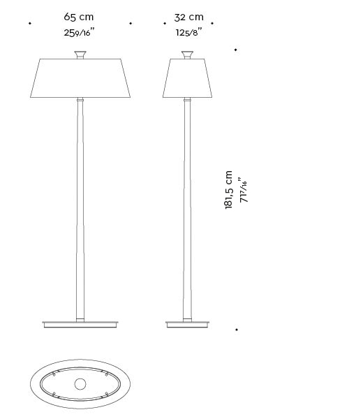 Dimensions of Rita, a floor LED lamp with a wooden strucutre, a bronze base and a linen, cotton or hand-embroidered silk lampashade, from Promemoria's catalogue   Promemoria