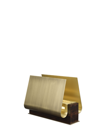 Dodoma is a table lamp with wooden structure, an external bronze shade an internal brass shade and Murano glass detail, from Promemoria's Capsule Collection by Bruno Moinard | Promemoria