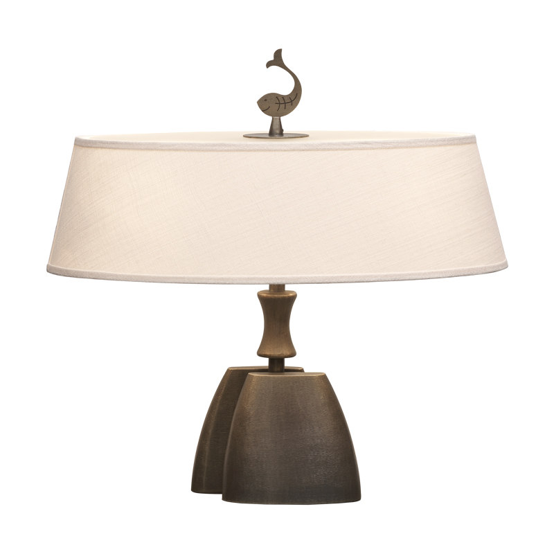 Misultin is a table LED lamp with bronze structure with a linen, cotton or hand-embroidered silk lampshade, from Promemoria's catalogue   Promemoria