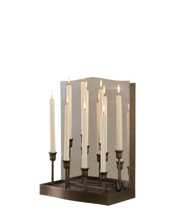 Candelabro is a wall LED lamp in bronze and chrome with mirror and candles, from Promemoria's catalogue | Promemoria