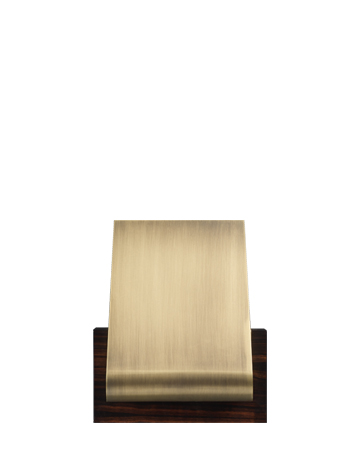 Dodoma is a wall wooden lamp with an external bronze shade and an internal brass shade, from Promemoria's Capsule Collection by Bruno Moinard | Promemoria