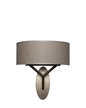 Nagoya is a wall bronze lamp with a linen, cotton and silk shade with handmade edge, from Promemoria's Capsule Collection by Bruno Moinard | Promemoria