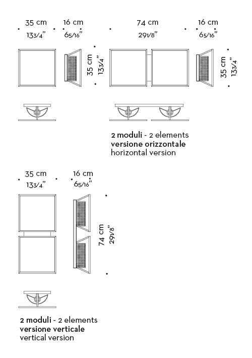 Dimensions of Teresa, a modular bronze wall lamp with a glass diffuser with linen, cotton or silk insert, from Promemoria's catalogue   Promemoria