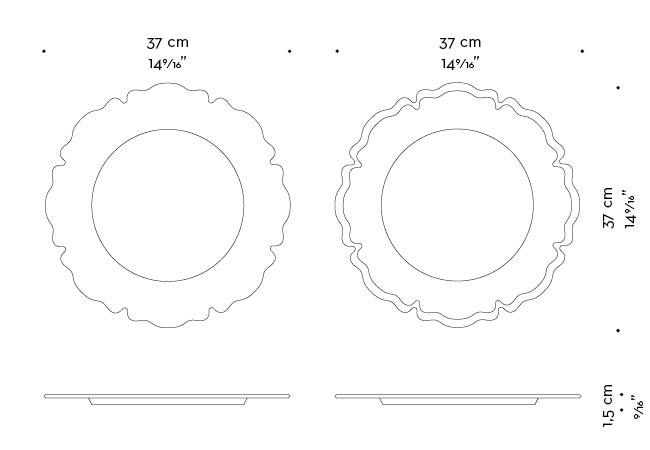 Dimensions of Ibisco, a leather or velvet underplate shaped like a flower, from Promemoria's catalogue   Promemoria