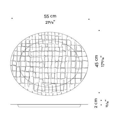 Dimensions of Mercurio, a leather tray, from Promemoria's catalogue | Promemoria