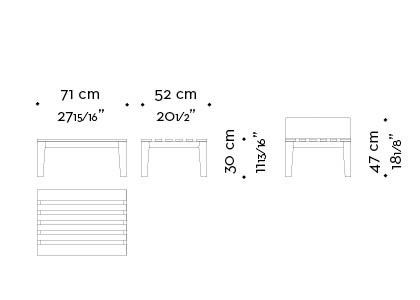 Dimensions of Varenna, an outdoor wooden armchair with a fabric cushion from Promemoria's outdoor catalogue | Promemoria
