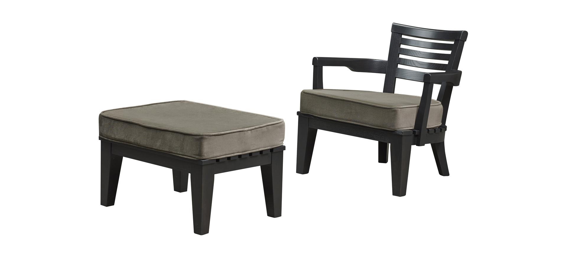 Varenna木质户外扶手椅配有织物或皮革软垫,请参见Promemoria户外系列产品目录|Promemoria