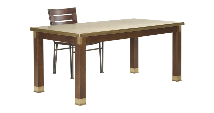 Dervio is an outdoor wooden dining table with bronze feet and details, from Promemoria's outdoor catalogue | Promemoria