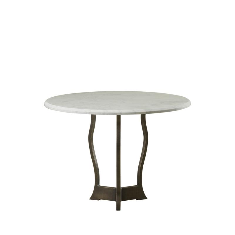 Erasmo户外餐桌配有锤纹铜质桌架和大理石桌面,请参见Promemoria户外系列产品目录|Promemoria