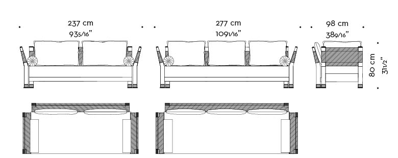 Dimensions of Moltrasio, outdoor wooden sofa with bronze feet and details, from Promemoria's outdoor catalogue | Promemoria