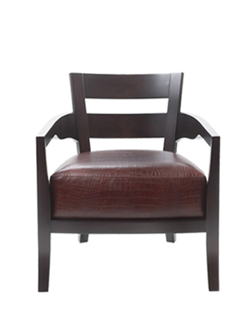 Africa is a wooden armchair covered in fabric or leather, from Promemoria's catalogue | Promemoria