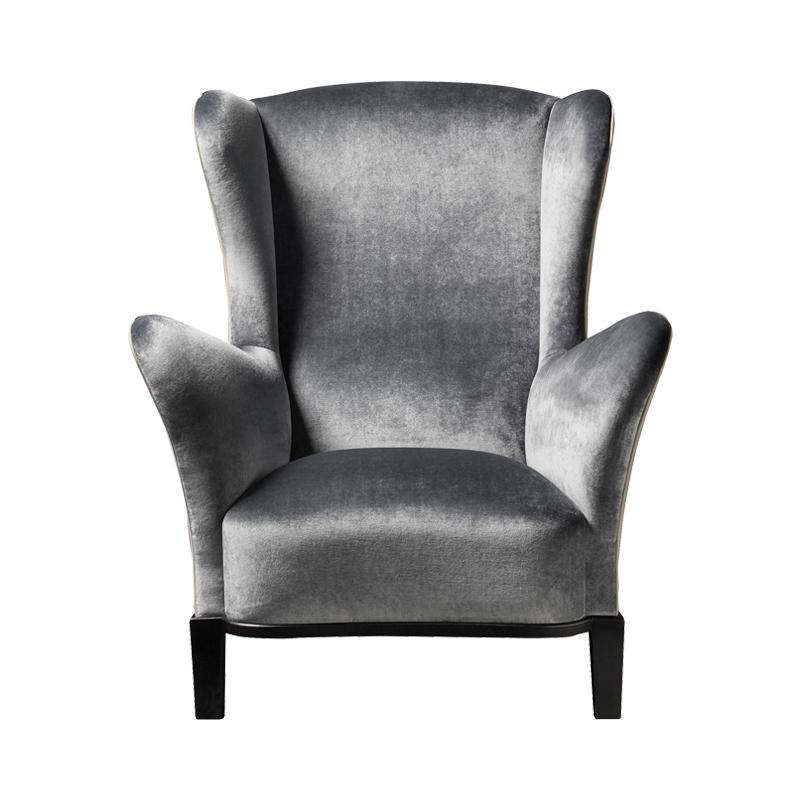 Bluette木质扶手椅以织物或皮革包衬,请参见Promemoria Night Tales系列|Promemoria