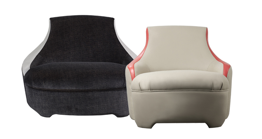 Gioconda and Giocondina are two fabric armchairs with leather details, from Promemoria's catalogue | Promemoria