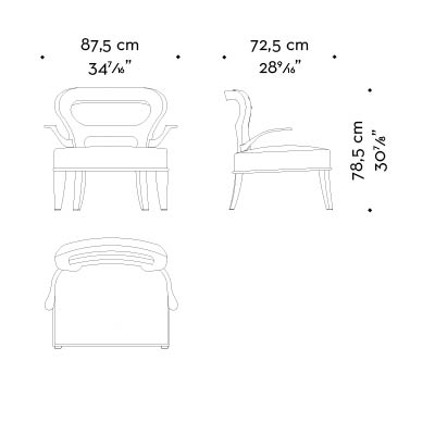 Dimensions of Roka Large, a large wooden armchair covered in fabric and leather with bronze arms, from Promemoria's catalogue   Promemoria