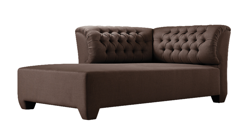 Adriano is a chaise longue covered in fabric with capitonnè back, from Promemoria's catalogue | Promemoria