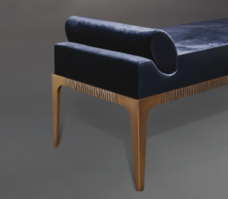 Montagu铜质贵妃椅以织物包衬,详见Promemoria London系列 Promemoria