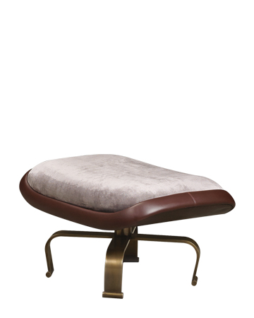 Butterfly is a pouf covered in leather and fabric with a metal base, available with wheels, from Promemoria's catalogue | Promemoria