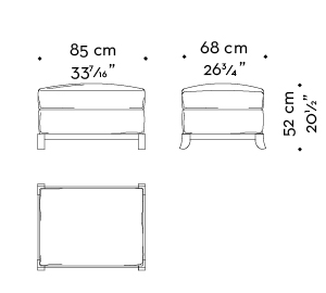 Dimensions of Madame A, a wooden pouf covered in fabric or leather, from Promemoria's catalogue   Promemoria