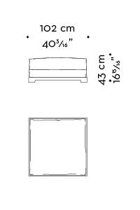 Dimensions of Wanda, a wooden pouf covered in fabric, from Promemoria's catalogue | Promemoria