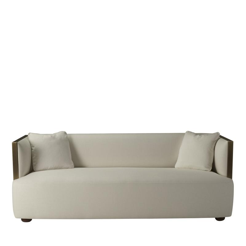 Boccaccio铜质沙发采用织物包衬,请参见Promemoria产品目录|Promemoria