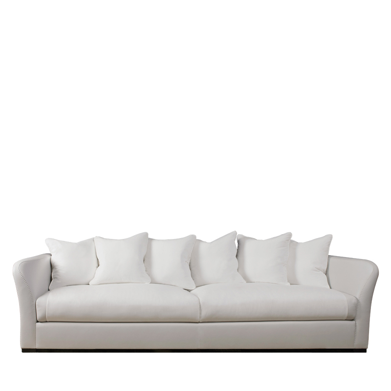 Shangri-la is a wooden sofa covered in leather and fabric, from Promemoria's catalogue   Promemoria
