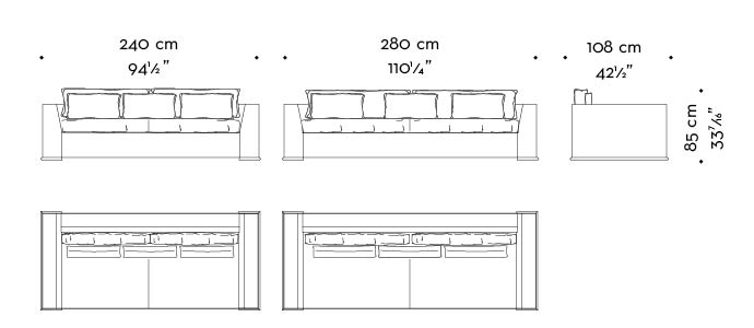 Dimensions of Ulderico, a wooden sofa covered in fabric or leather, from Promemoria's catalogue   Promemoria