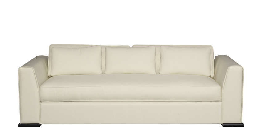 Ulderico is a wooden sofa covered in fabric or leather, from Promemoria's catalogue | Promemoria
