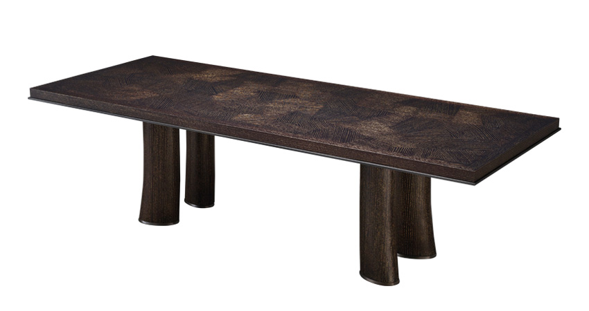 Andalù is a wooden dining table with bronze profile and feet, from Promemoria's catalogue | Promemoria