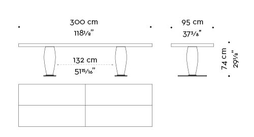Dimensions of rectangular Bassano, an impressive wooden dining table with a bronze base available with inlaid top, from Promemoria's catalogue | Promemoria