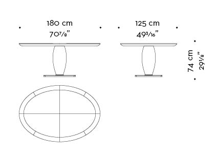 Dimensions of oval Bassano, an impressive wooden dining table with a bronze base available with inlaid top, from Promemoria's catalogue | Promemoria