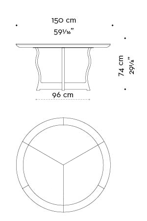 Dimensions of circular Erasmo, a bronze dining table with wooden or leather top, from Promemoria's catalogue   Promemoria