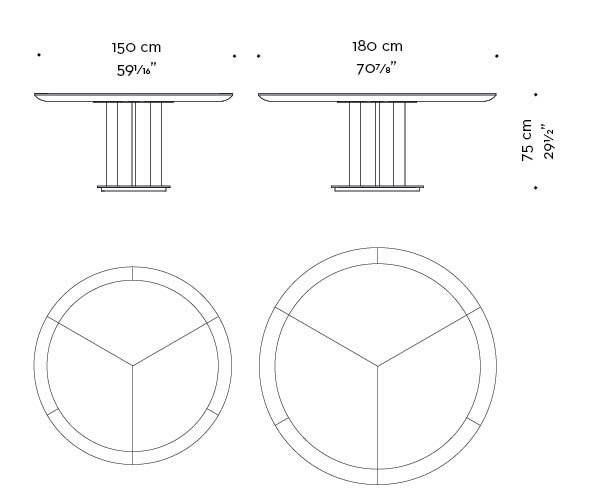 Dimensions of Orazio, a wooden and bronze dining table, from Promemoria's Amaranthine Tales collection   Promemoria